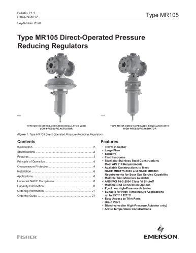 Type MR105 Direct-Operated PressureReducing Regulators