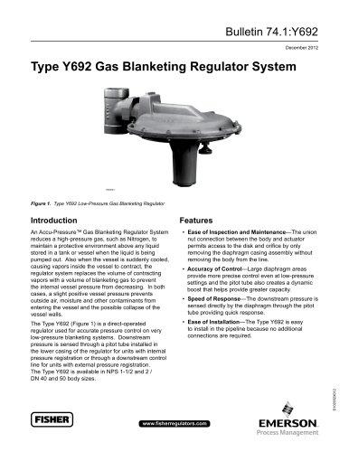 Type Y692 Gas Blanketing Regulator System