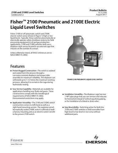 www.Fisher.comFisher™ 2100 Pneumatic and 2100E ElectricLiquid Level Switches
