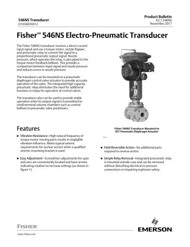 www.Fisher.comFisher™ 546NS Electro‐Pneumatic Transducer