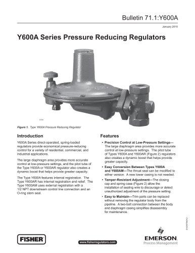 Y600A Series Pressure Reducing Regulators