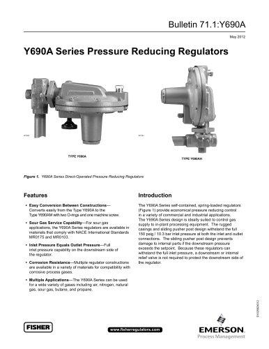 Y690A Series Pressure Reducing Regulators