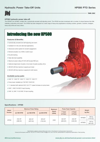 HP500 series hydraulically actuated PTO with self adjusting clutch