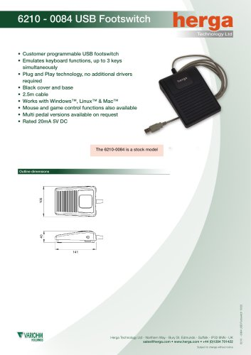6210 - 0084 USB Footswitch