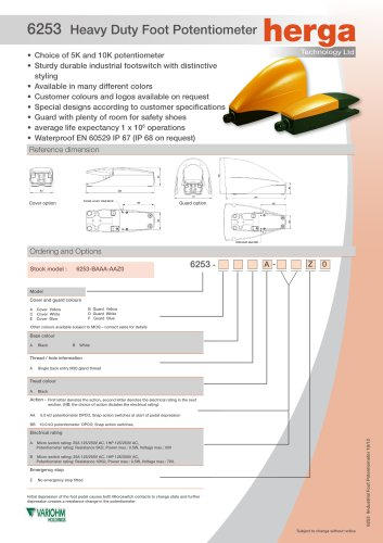 6253 Heavy Duty Foot Potentiometer