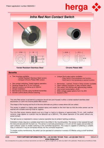 Infra Red Non Contact Switch