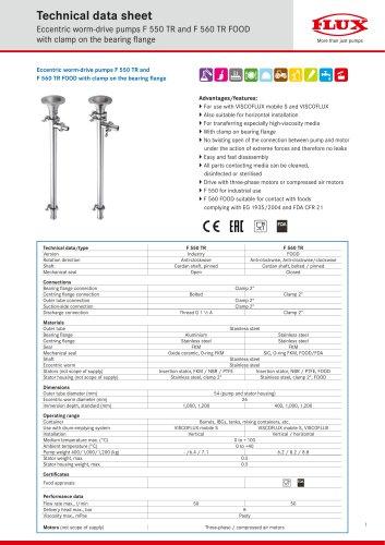 Eccentric worm-drive pumps F 550 TR and F 560 TR FOOD