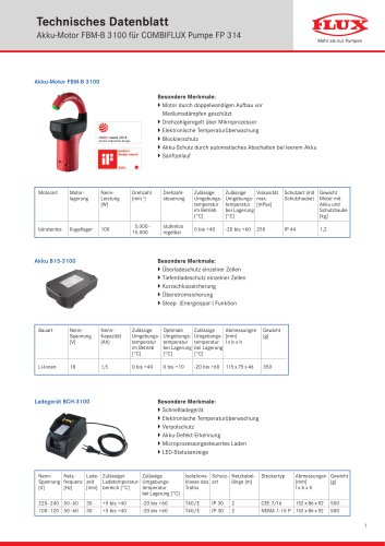 FLUX Fasspumpe COMBIFLUX FP 314 Datenblatt