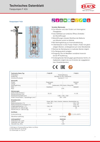 FLUX Fasspumpe F 426 Datenblatt