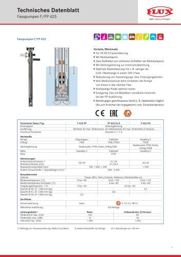 FLUX Fasspumpe F/FP 425 Datenblatt