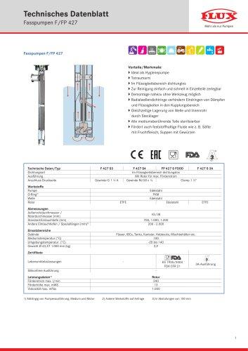 FLUX Fasspumpe F/FP 427 Datenblatt