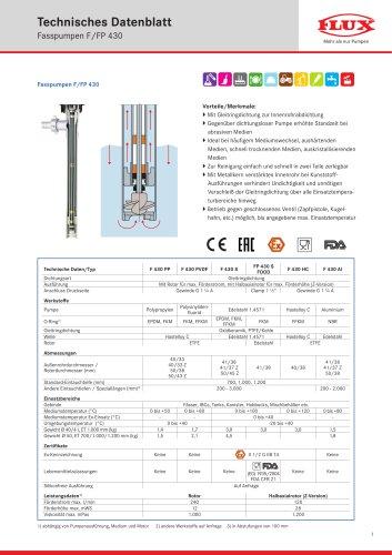 FLUX Fasspumpe F/FP 430 Datenblatt