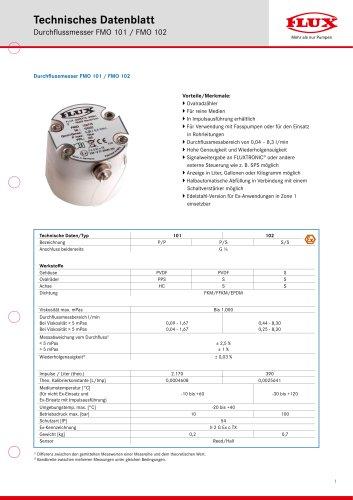 FLUX Ovalradzähler FMO 102 Datenblatt