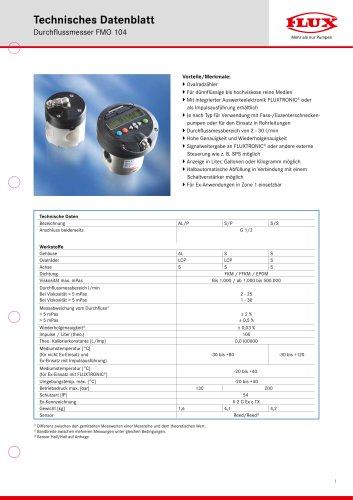 FLUX Ovalradzähler FMO 104 Datenblatt