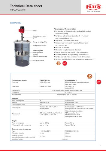 Technical Datasheet VISCOFLUX lite Ex