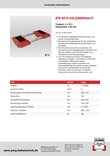 JFB 40 H Produkt Details