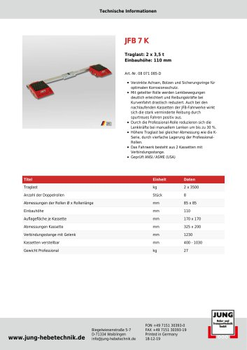 JFB 7 K Produkt Details