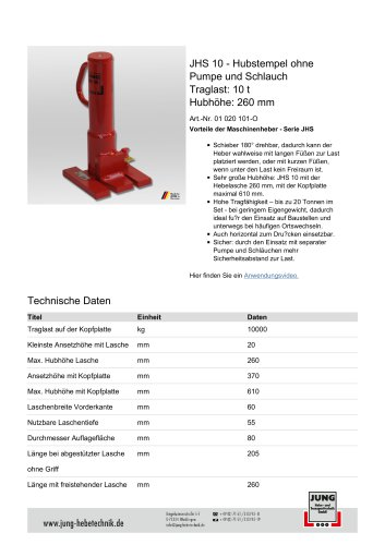 JHS 10 Produkt Details