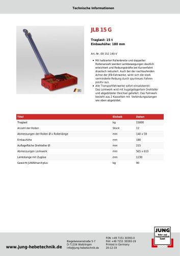JLB 15 G Produkt Details