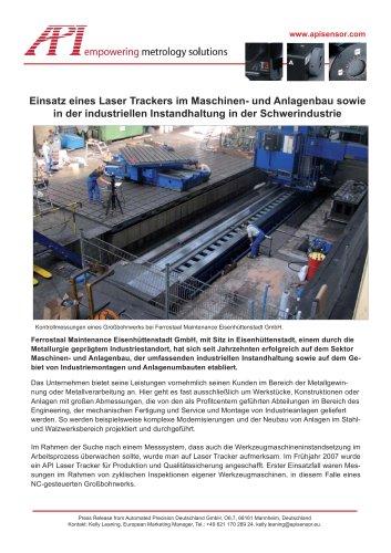 Anwenderbericht: Laser Tracker in der industriellen Instandhaltung (Ferrostaal)