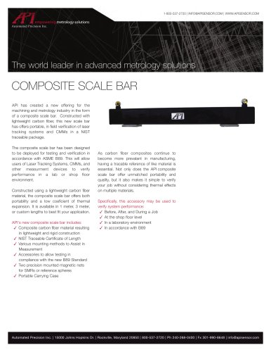 Composite Scale Bar for portable in-field calibration of Laser Tracking systems