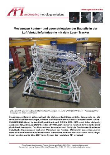 Messungen geometriegebender Bauteile (Aerospace) mit dem Laser Tracker