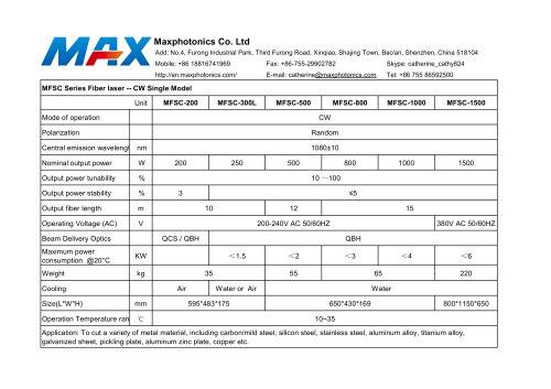 CW 200W~1500W FIber Laser Specification
