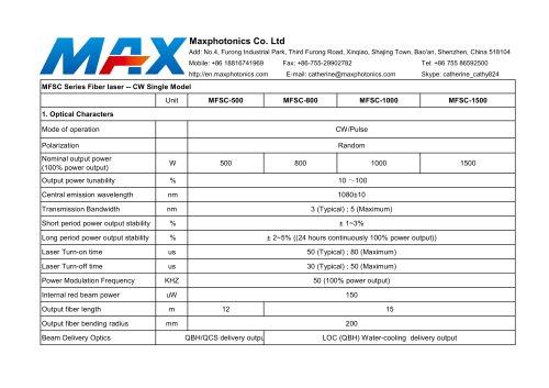 MAX 500W~1500W Fiber Laser Source for laser cutting