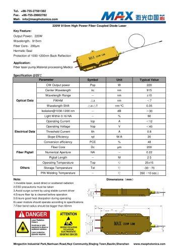 Maxphotonics220W915nmfibercoupledSemiconductorlasermodule