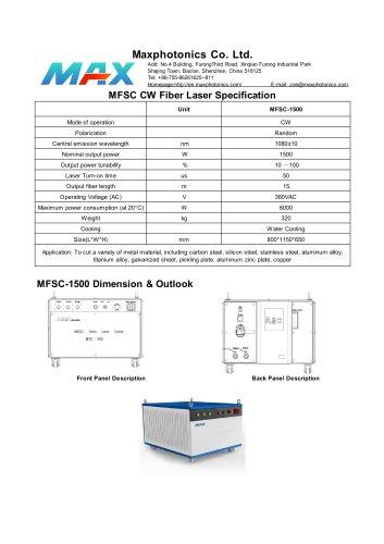 MFSC-1500 Maxphotonics CW1500W fiber laser source for cutting water cooled