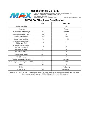 MFSC-250 Maxphotonics CW250W fiber laser source for cutting air cooled