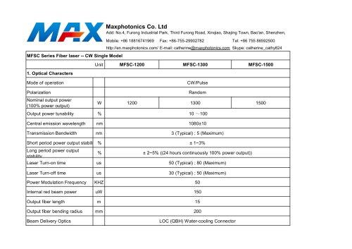 NEW 1200W~1500W Fiber Lasers