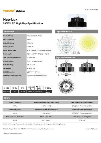 Neo-Lux 200W LED High Bay Specification