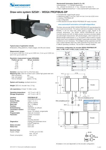 Assembly instructions draw-wire system SZG81 with absolute encoder WDGA 58A PROFIBUS-DP