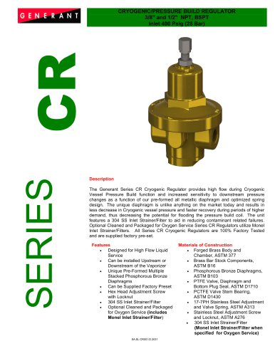 Cryogenic / Pressure Build Regulator (CR)