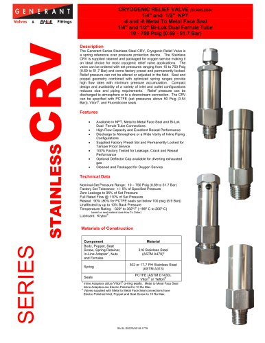 Cryogenic Relief Valve Stainless (CRV)