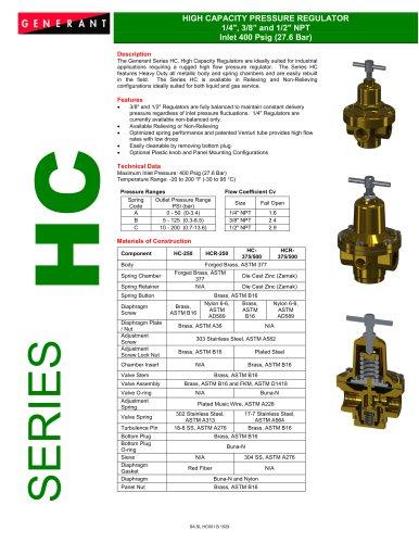 High Capacity Pressure Regulators (Series HC)