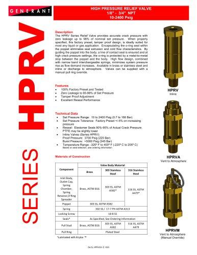 High Pressure Relief Valve (HPRV)