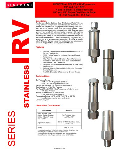 Industrial Relief Valve - Stainless (IRV)