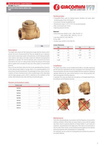Clapet Check valve ,  metal seal N6