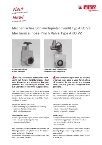 Mechanisches Schlauchquetschventil - Serie VZ