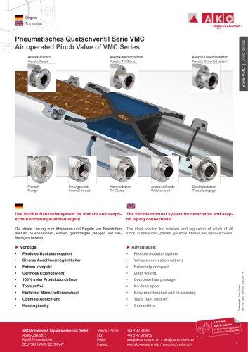 Multifunktionales Quetschventil-Bauskastensystem, Serie VMC