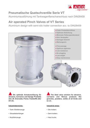 Pneumatische Quetschventile mit Tankwagenflanschanschluss Serie VT