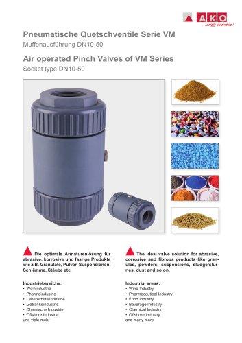 Quetschventil pneumatisch mit Innengewindeanschluss, PVC