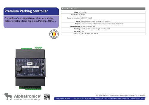 Premium Parking controller
