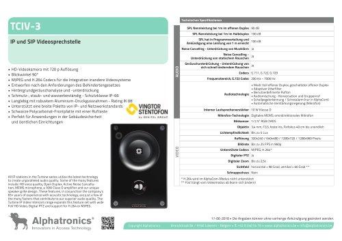 TCIV-3 IP und SIP Videosprechstelle