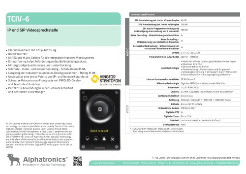 TCIV-6 IP und SIP Videosprechstelle