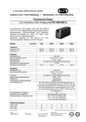 pro LITE 400 - 800 U