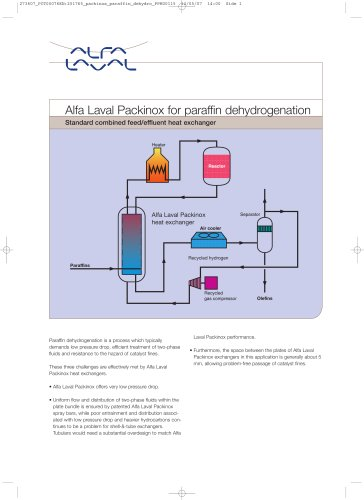 Alfa Laval Packinox for paraffin dehydrogenation