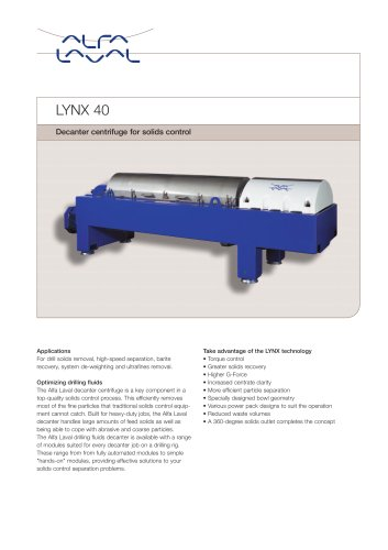 LYNX - Drilling mud decanter - LYNX 40